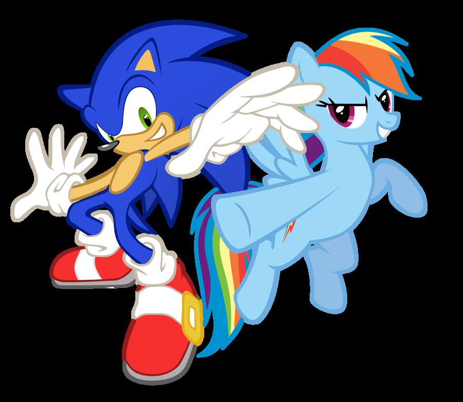Rainbow Dash and Sonic Cross by GeoNine