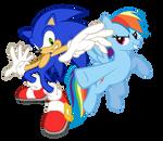 Rainbow Dash and Sonic Cross