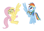 Fluttershy and Rainbow Dash High Wing
