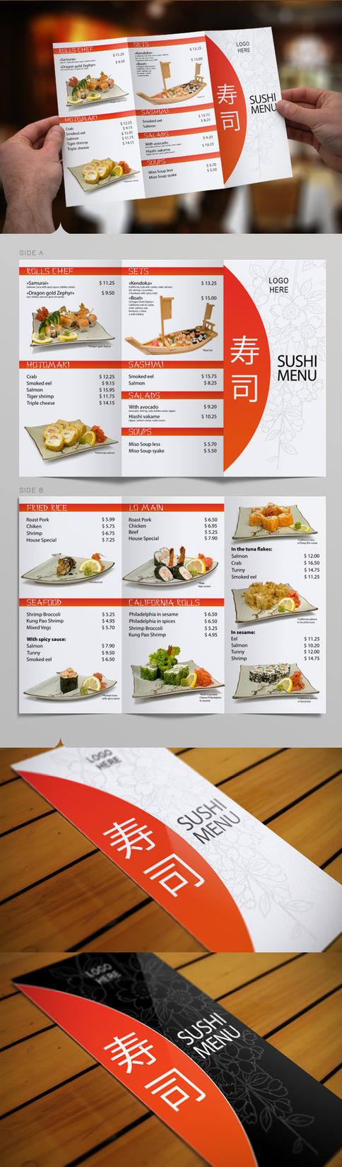 tri fold sushi menu template by itembridge on deviantart. Black Bedroom Furniture Sets. Home Design Ideas