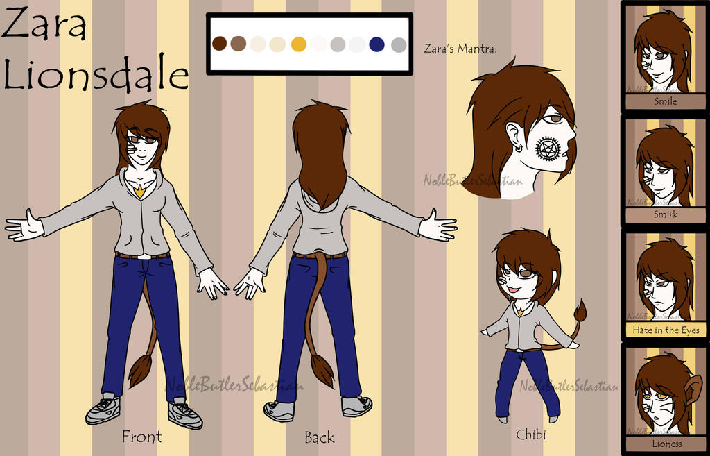 Commission- Zara Lionsdale Ref Sheet by NobleTanu