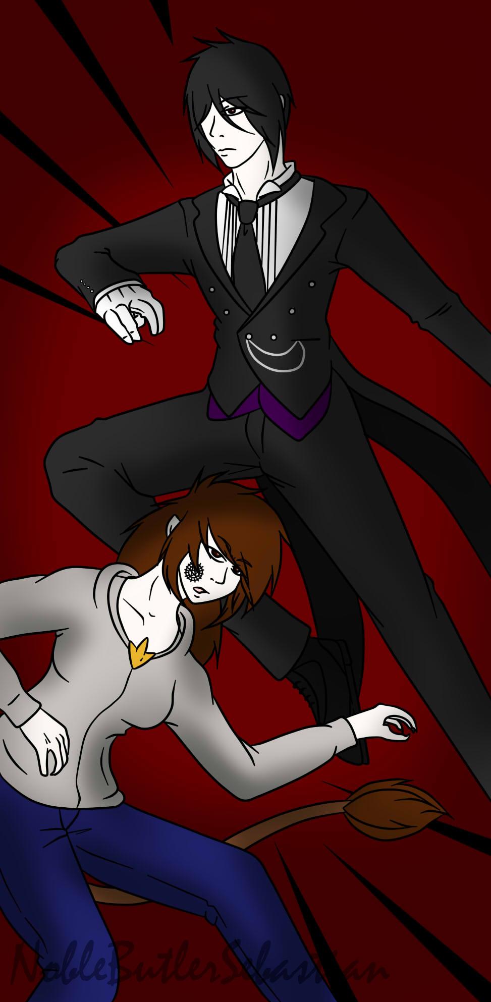 Commission- Zara and Sebastian Fight Scene by NobleTanu