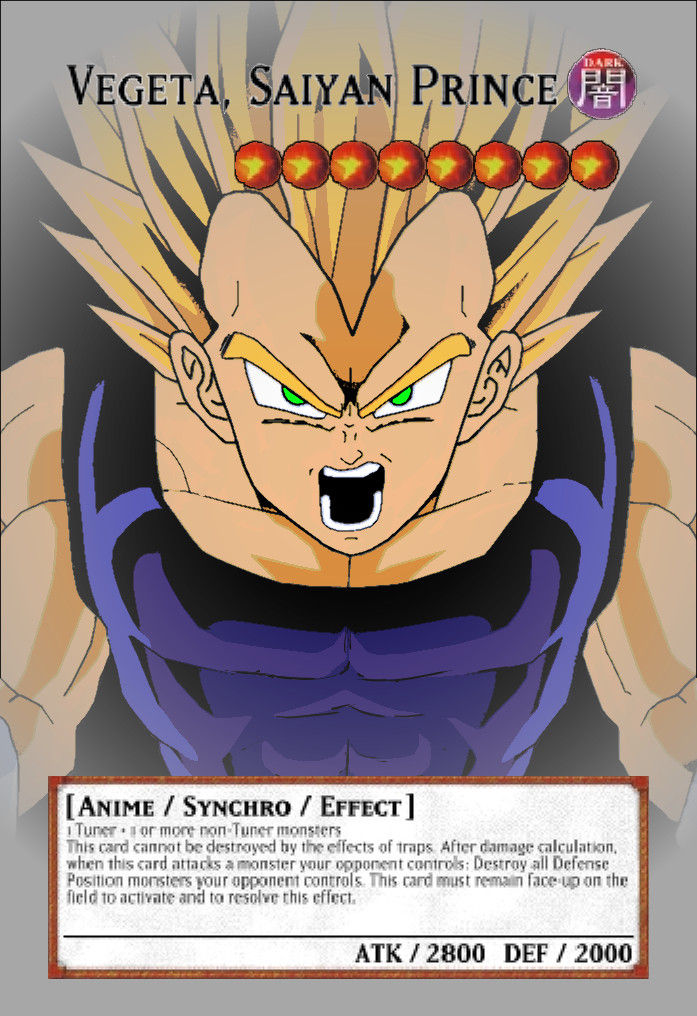 Yugioh! Orica: Vegeta Monster Card by animereviewguy