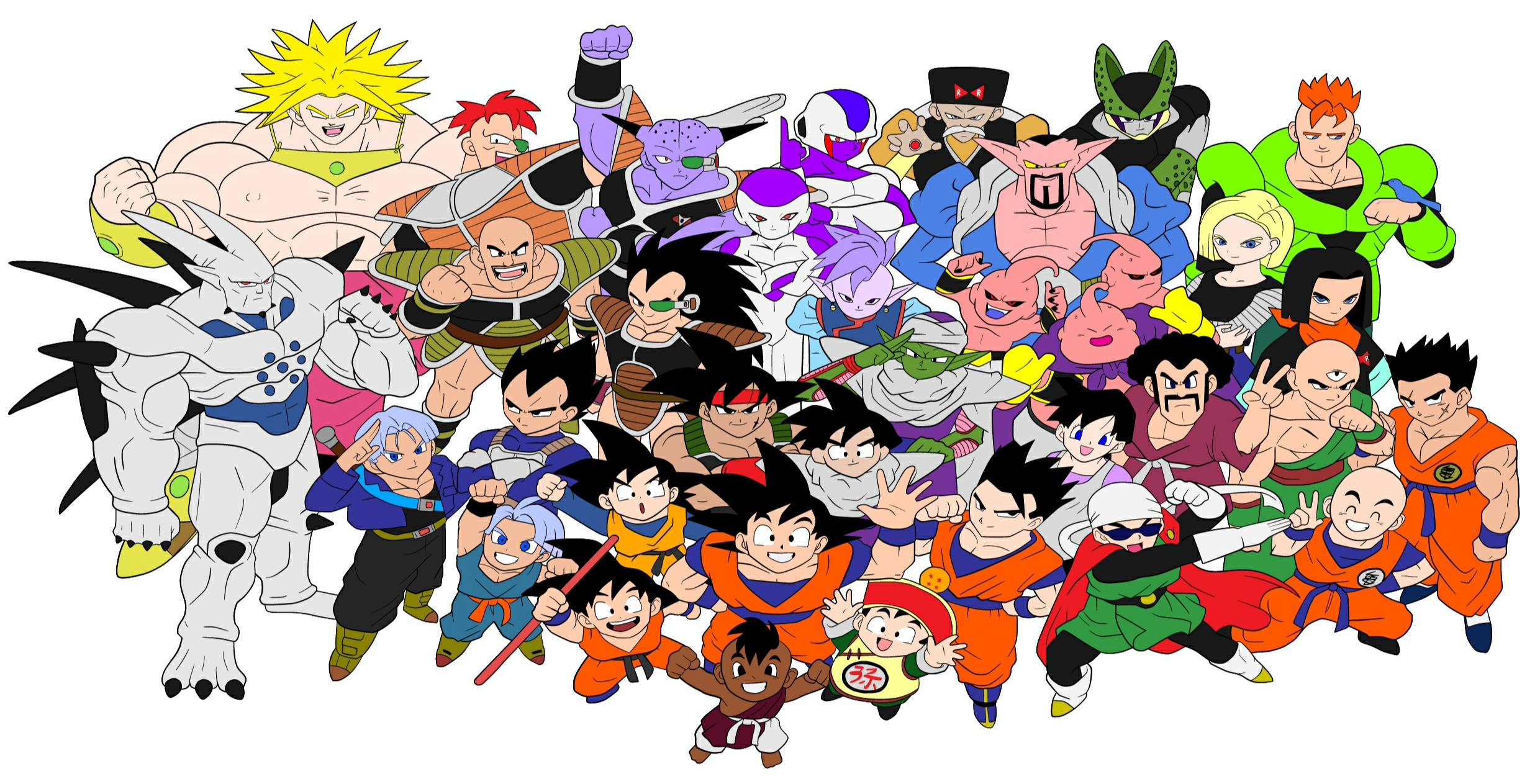 Dragon Ball Z Budokai 3 Character Roster Vector by animereviewguy