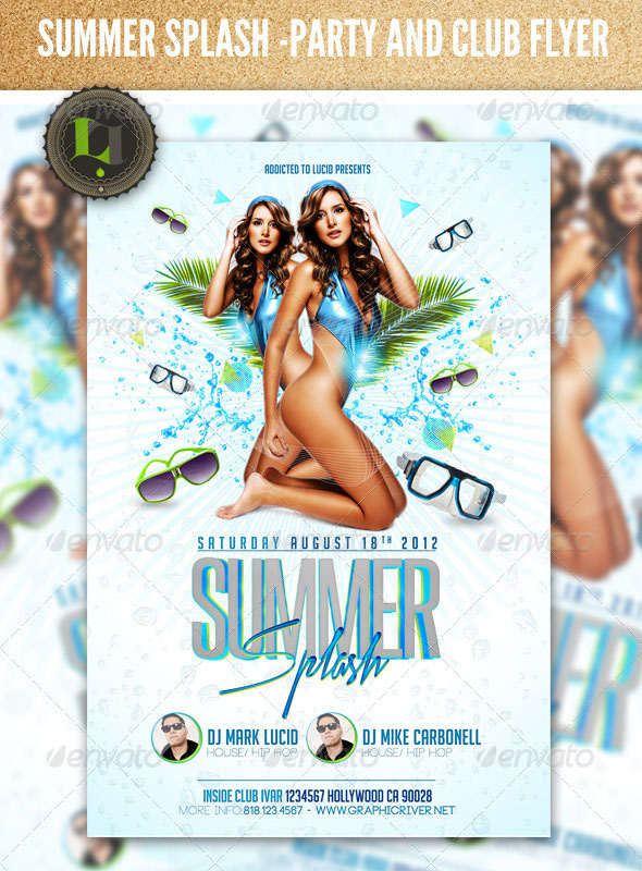Summer Splash Pool Party  Psd Flyer Template By Addictedtolucid