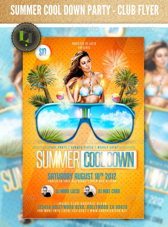 Summer cool down pool party psd flyer template by for Club piscine flyer