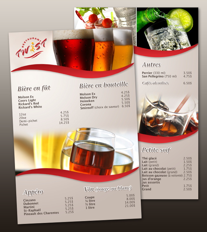 Twist restaurant drinks menu by neverdying on deviantart