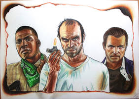 GTA V - Franklin, Trevor, and Michael drawing