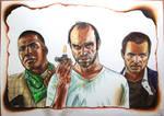 GTA V - Franklin, Trevor, and Michael drawing