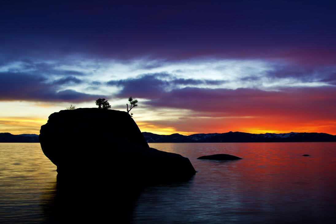 Bonsai Rock and Sunset at Tahoe by sellsworth