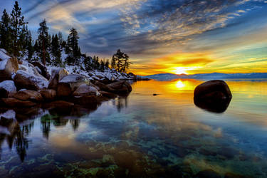 East Shore Tahoe on a December Evening by sellsworth