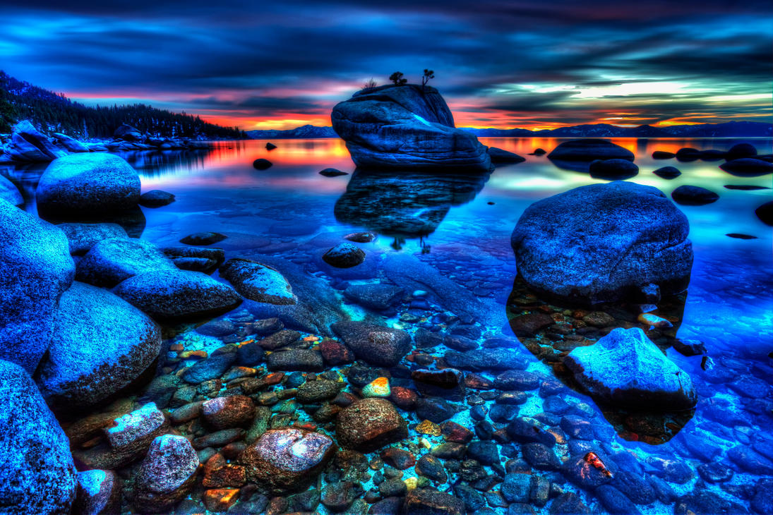 Bonsai Rock at Tahoe with Late December Color by sellsworth