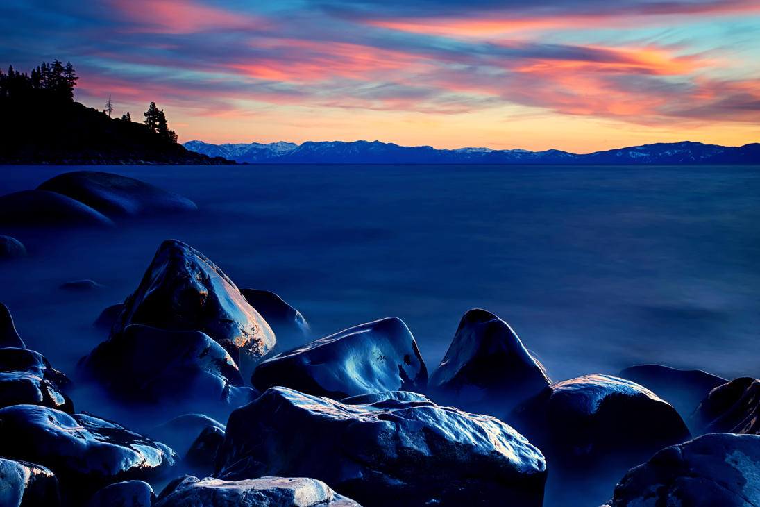 The Glow of the East Shore of Lake Tahoe by sellsworth