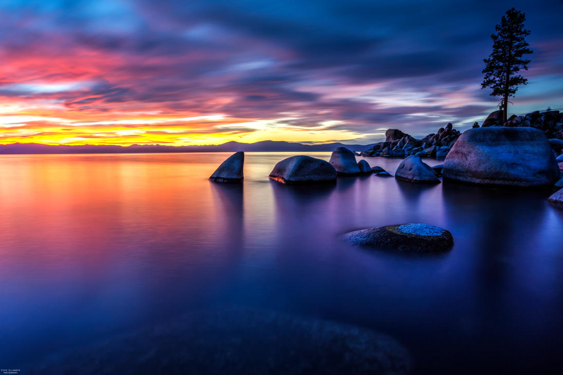 A Mellow and Colorful Evening at Lake Tahoe by sellsworth