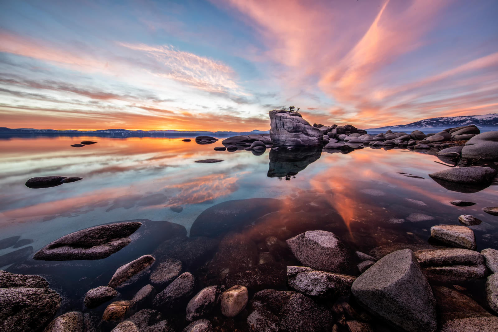 Calm and Vibrant Midwinter Tahoe Evening. by sellsworth