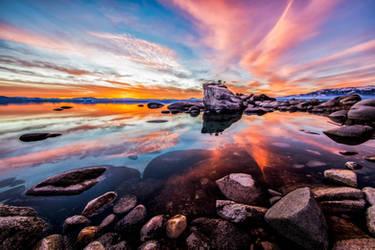 A Calm Winter Evening at Tahoe's Bonsai Rock