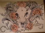 Roses and Ram's Skull Tattoo Design