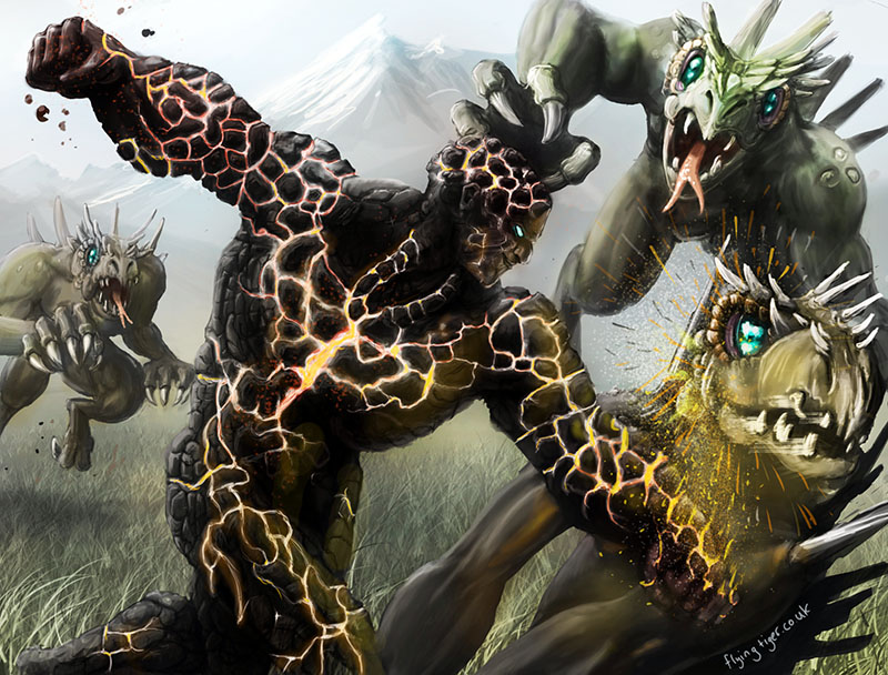 Lava man doing battle with lizard men by megapowerskills