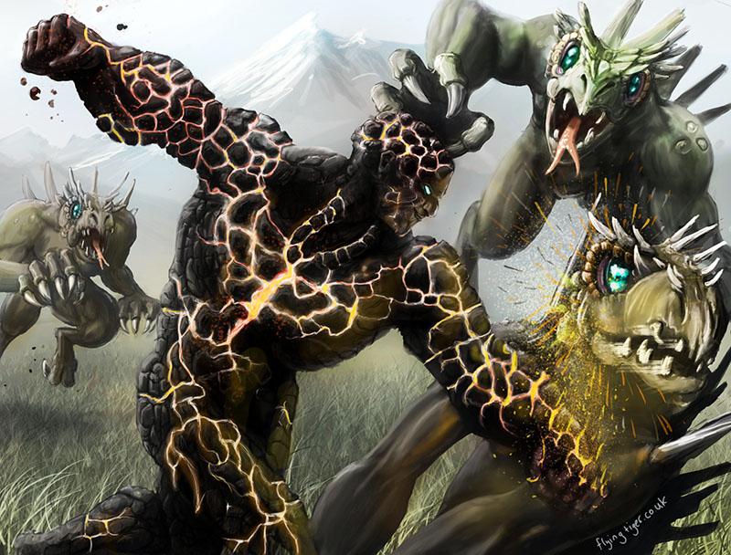 Lava man doing battle with lizard men by megapowerskills