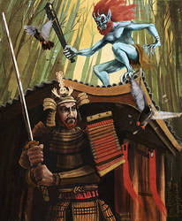 Samurai and Japanese Oni Demon by megapowerskills