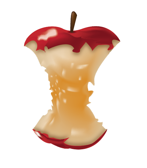 Gradient Mesh Apple Core by Narxinba222
