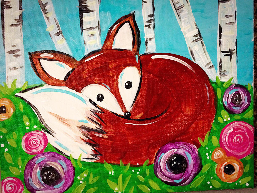 childrens painting spring fox by - Children Painting Pictures