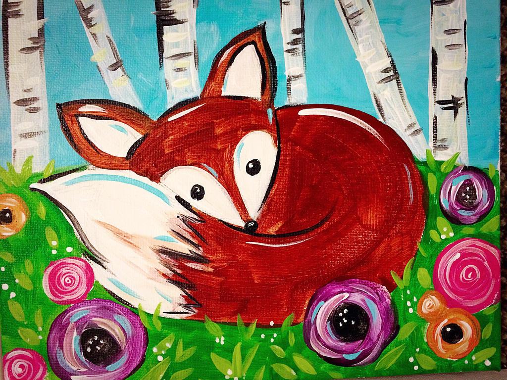 Children 39 s painting spring fox by salix tree on deviantart for Children s mural artist
