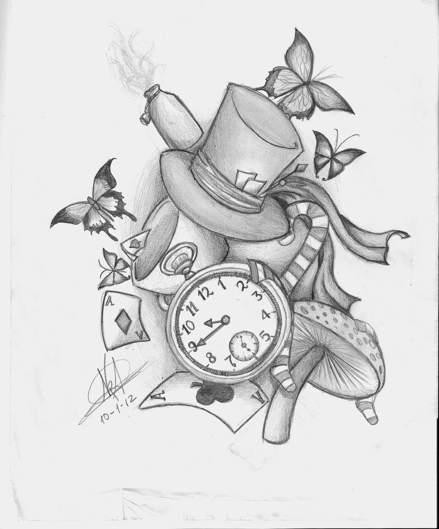 Alice in wonderland desing tattoo