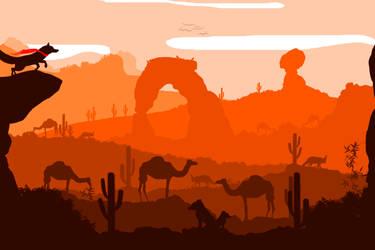 -- Desert landscape -- by 0l-Fox-l0
