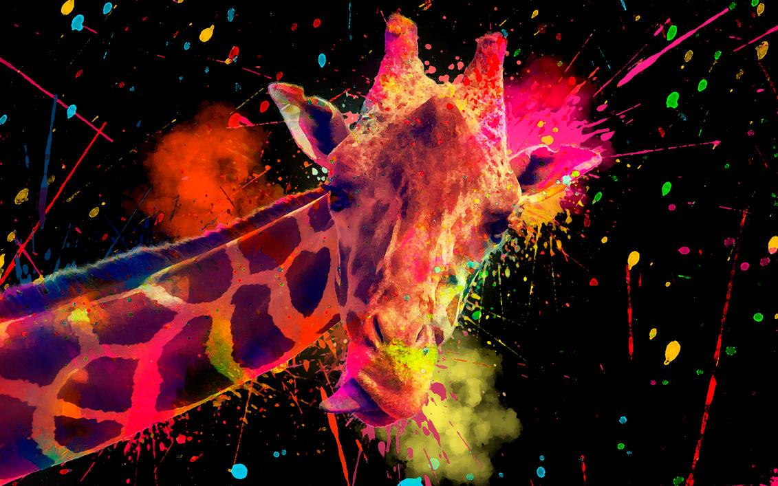 -- Rainbow giraffe -- by 0l-Fox-l0