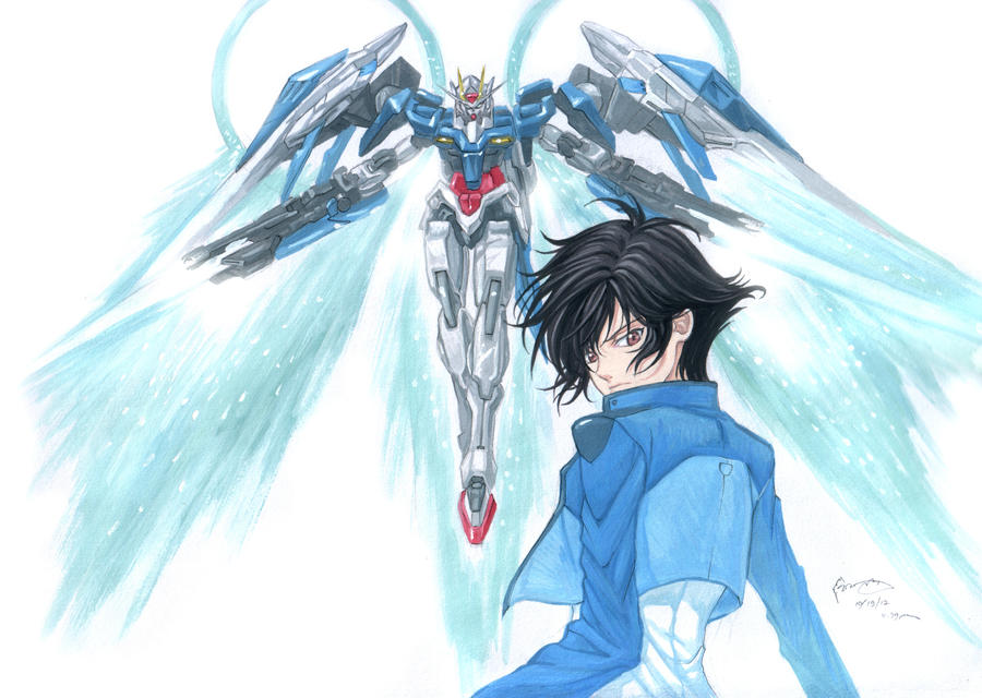 Gundam 00 Raiser and Setsuna F. Seiei