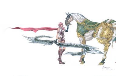 Final Fantasy XIII: Lightning and Gestalt Odin by Nick-Ian