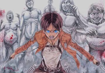 Shingeki No Kyojin Eren's Rage by Nick-Ian