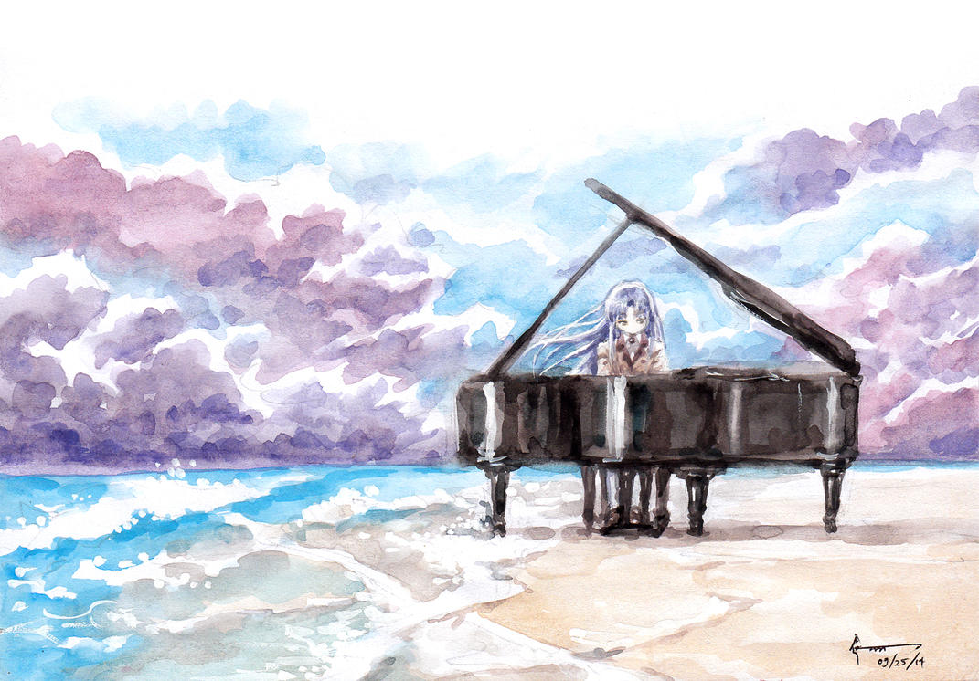 Kanade, Her Piano and the Beach by Nick-Ian
