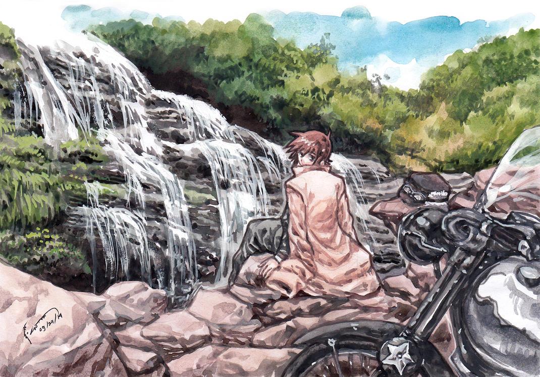 Kino, Hermes and a Waterfall by Nick-Ian