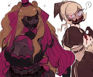 -fnaf- nightmare fredbear and nightmare chica
