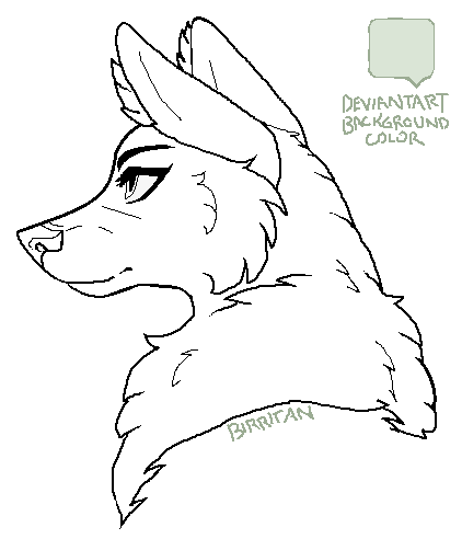 Maned Fem Wolf MSPaint Friendly Lineart 619885469