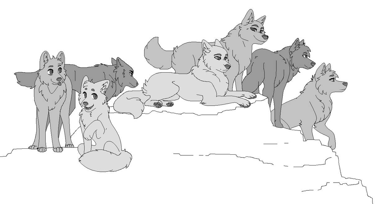 Wolf Pack MSPaint Friendly Lineart +2 UPDATE by Birritan ...