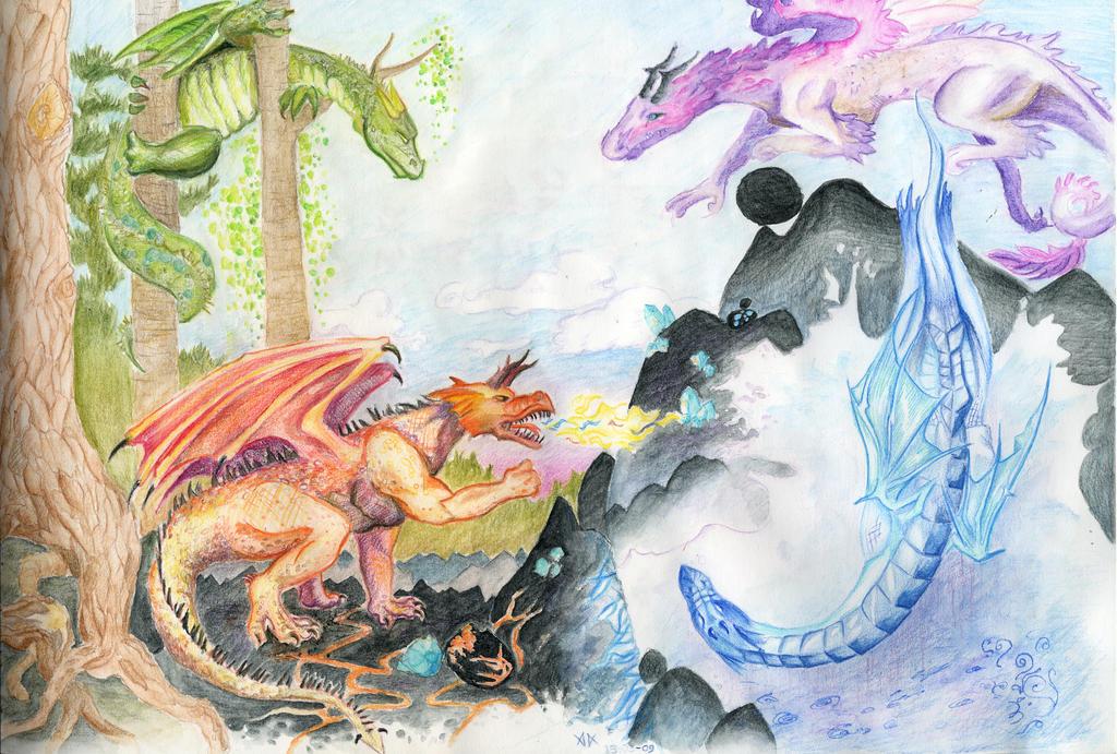 Four Elements Art : Dragons the four elements by cedarbird on deviantart
