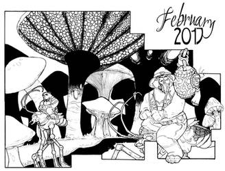 February Sketch a Day by darthneko