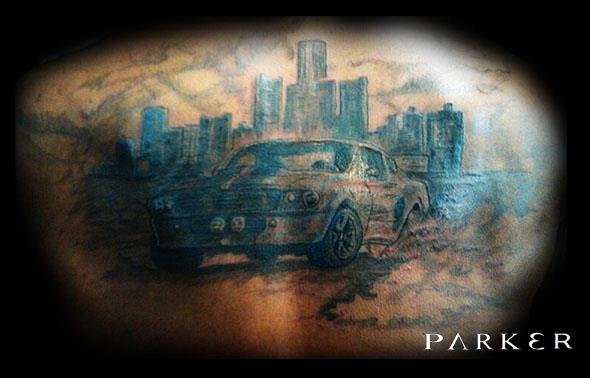 Mustang tattoo detroit skyline by mattparkertattoo on for Detroit tattoo shops