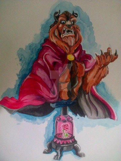 Beauty and the beast bust watercolor by julesvampire