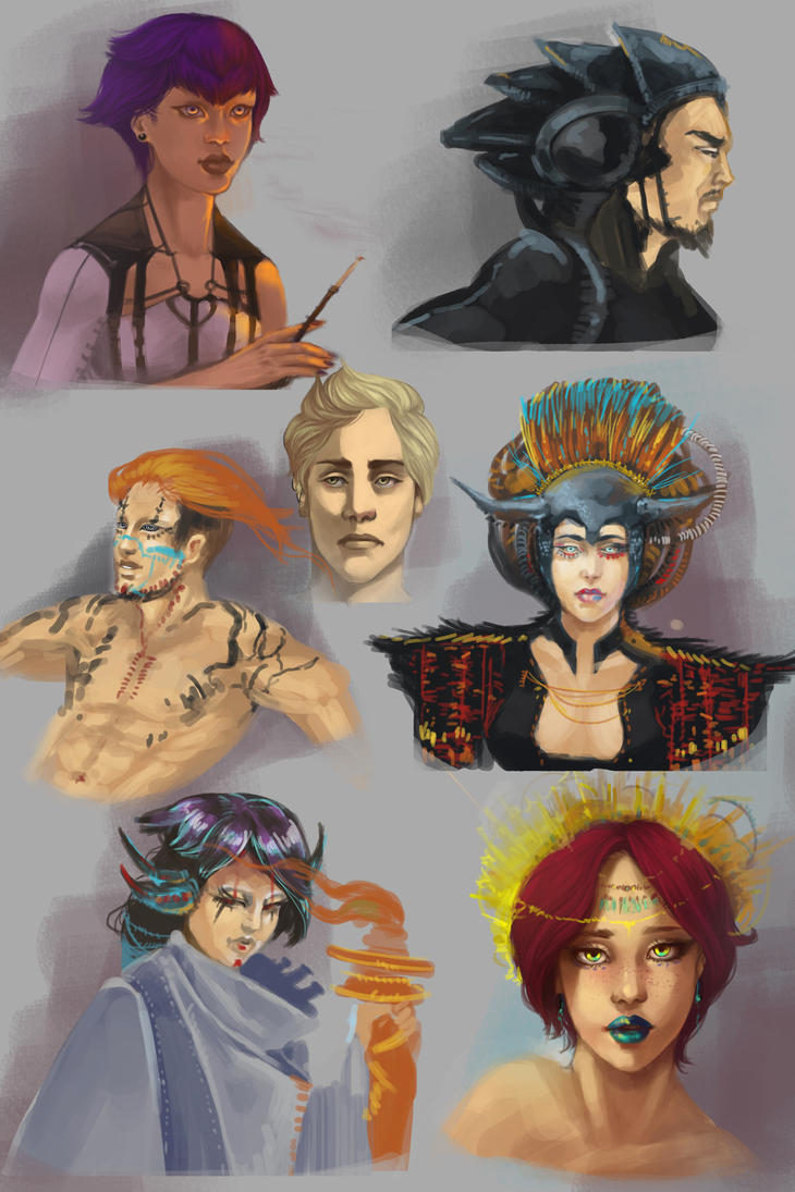Character busts and faces by AndroidAleksandraSH