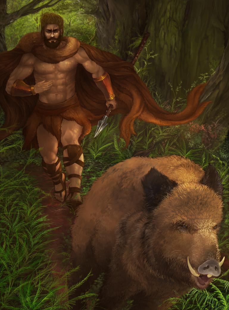 Hercules' Labor 4 - THe Erymanthian Boar by Nidhogge