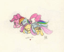cuddling pony is best pony by Siansaar