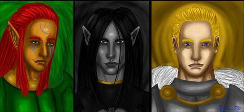 Baldur's Gate Male Bhaalspawn portraits by Danitheangeldevil