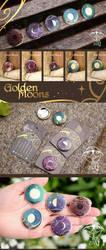 Golden Moons buttons by giz-art