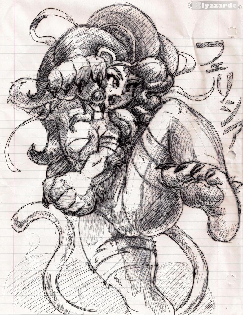 Felicia Pen Sketch by Blyzzarde