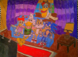 Sonic, Drake(Darkwing) and friends watching TV