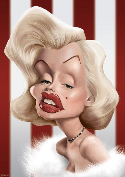 Caricaturas de famosos Marilyn_Monroe_Caricature_by_manohead